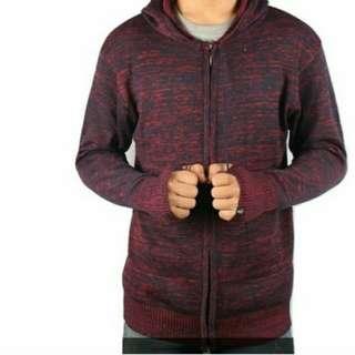 Sweater Rajut Ariel Twotone Maroon Black