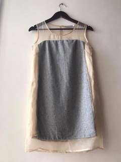 excellent condition Authentic CHRISTIAN DIOR nude and grey shift dress - fits s-m