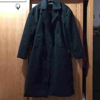 🚚 雙排扣毛呢長版西裝大衣外套 黑色L號