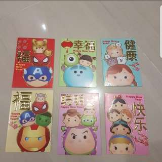 In stock doraemon tsum tsum disney design ang pao red packets 6 in a pack regular size