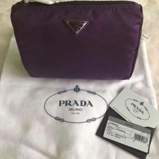 Authentic Prada Vela Necessaire Cosmetic Travel Pouch Bag