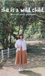 3ma 淺啡燈芯絨裙