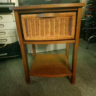 Wood bed side table or end table with drawer