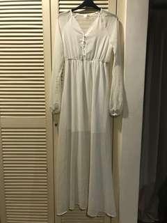 White Long sheer dress