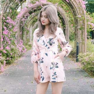 Pink Floral Puff Sleeve Romper