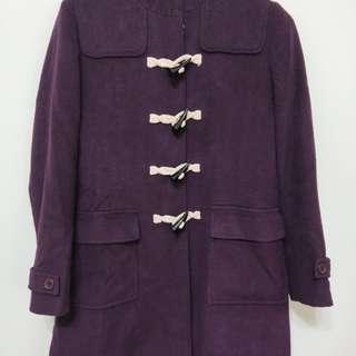 🚚 紫色牛角釦長外套
