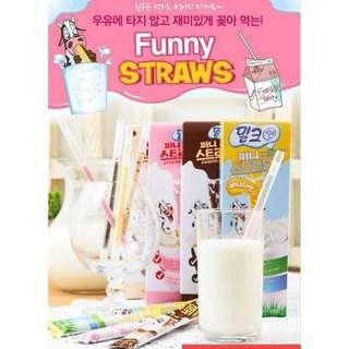 現貨│韓國 FUNNY STRAWS 咕嚕嚕 神奇吸管 巧克力/香蕉/草莓/奶油餅乾(10入/盒) #新春八折