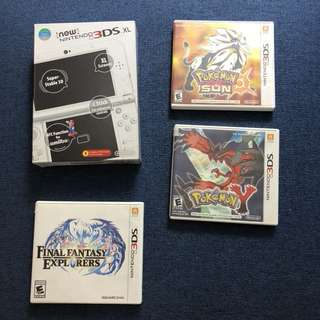 New Nintendo 3DS XL (Pearl White) with 3 games