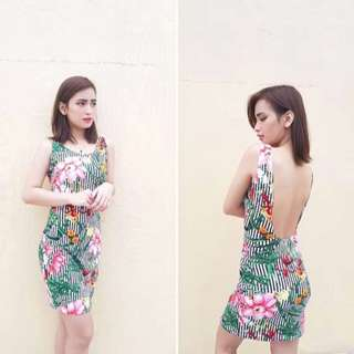 Printed lowback bodycon