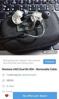 Westone UM2 IEM (Balanced and clear sounding earphones)