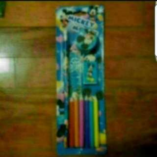 In Stock Mickey Mouse Stationery Set 1 pencil, 1 eraser, 1 sharpener, 1 ruler and 6 colour pencils