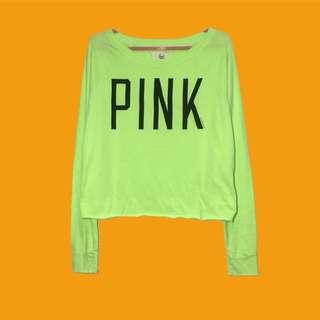 Pink Victoria's Secret Long Sleeves Crop Top