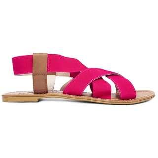 Steve Madden Pauli Multi Strap Fuschia Flat Sandals