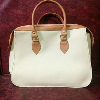 Cream and mustard Handbag (2)