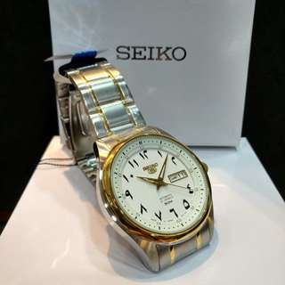 * FREE DELIVERY * Made In Japan Brand New 100% Authentic Seiko 5 Automatic Mens Special Two Tone Arabic Dial Index SNKP22J SNKP22