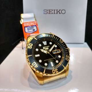 * FREE DELIVERY * Made In Japan Brand New 100% Authentic Seiko 5 Sports PVD Gold Case & Black Dial Automatic Mens Watch Sea Urchin SNZF22J SNZF22