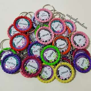 40pcs of Personalized Bottle Cap keychains