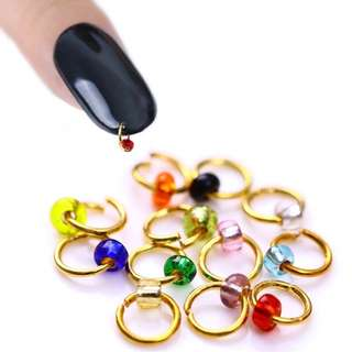 1 Box Colorful Bead Dangle Drill Gold Silver Ring Design Stud Hole Maker Tool Manicure 3D Nail Art Decoration