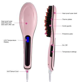BNIB Pink Electric Straightening Iron Comb with LCD
