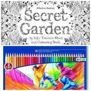 SECRET GARDEN COLOURING BOOK & Staedtler Noris Club 145 Spm36 Colouring Pencils - (Pack of 36)
