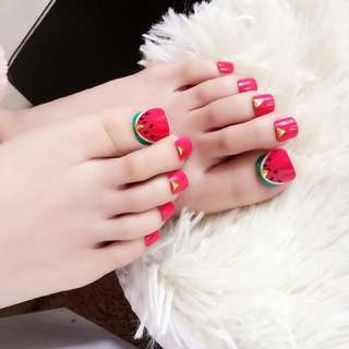 Watermelon Design Nail Tips for Toes 3d Triangle Rivet Fake Acrylic Nails Toenails for Decorate Foot Manicure Tool Z561