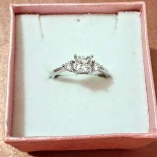靚靚純銀 包金閃 水晶 戒指
