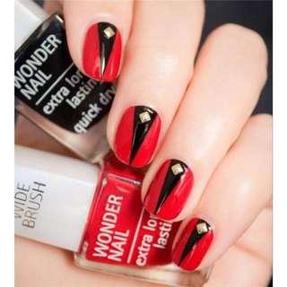 Sexy 24pcs/set red bottom+black V design 3D rivet decoration finished fake nails short size full nail tips Patch lady art tool