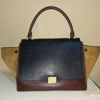 Shoulder/ Tote Bag Calfskin Tri-color Leather Celine Trapeze