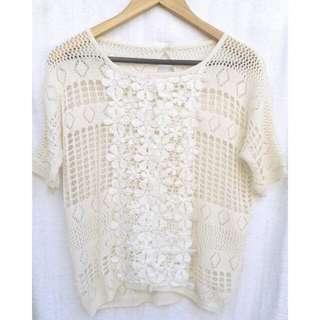 Crochet White Floral Top