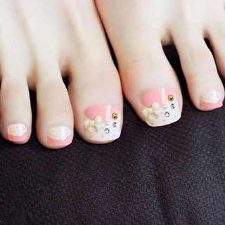 24PCS/set Pink 3D bowknot rivets decoration lovely summer toes finished fake nails,full Nail tips patch,girl toe art tool bride
