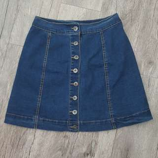 Buttondown denim skirt