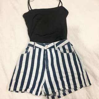 BLUE STRIPE HIGH WAISTED SHORTS