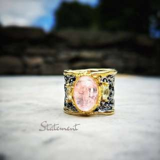 STATEMENT: Gold Plated Rose Quartz Cocktail Ring