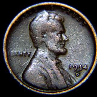 1934年美國(USA)林肯總統像麥穗1仙銅幣(有D, 異品)