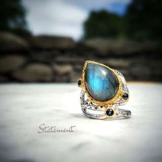 STATEMENT: Gold Plated Labradorite Sapphire Cocktail Ring