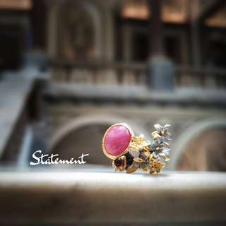 STATEMENT: Gold Plated Ruby Floral Cocktail Ring