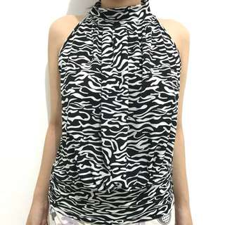 White black putih hitam halter top