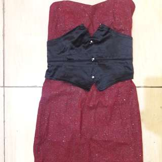 Preloved Dress Kemben Fit to M Kecil Katun Tebel