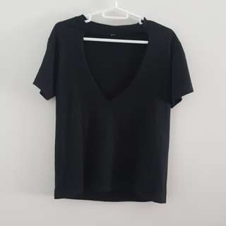 V-Cutout Black Shirt