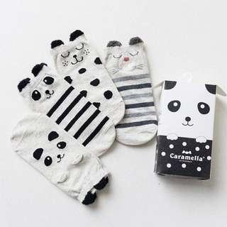 🦁Instock - 4pairs panda socks, unisex baby infant toddler girl boy children sweet kid happy