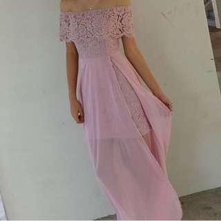 Pale pink long dress