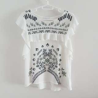 ZARA White ruffled sleeve top