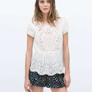 Looking for Zara eyelet top