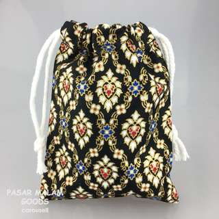 Traditional Pouch For Phone Accesories Vivid Batik Floral Textile Traditional Pattern Fabric