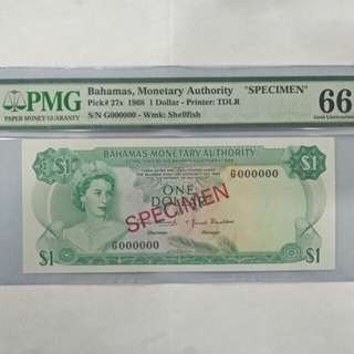 Bahamas specimen banknote