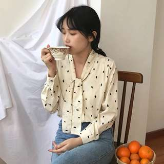 ulzzang polka dot ribbon blouse
