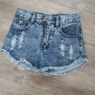 Dark denim ripped shorts