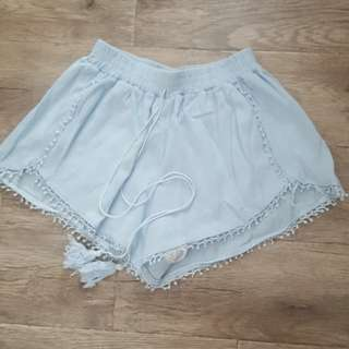 Light blue loose shorts