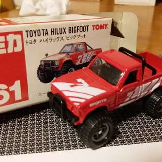 Tomica tomy車 61號 Toyota Hilux Bigfoot 61 vintage