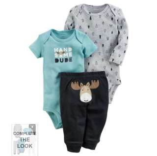 *3M* BN Carter's 3-Piece Little Character Set For Baby Boy